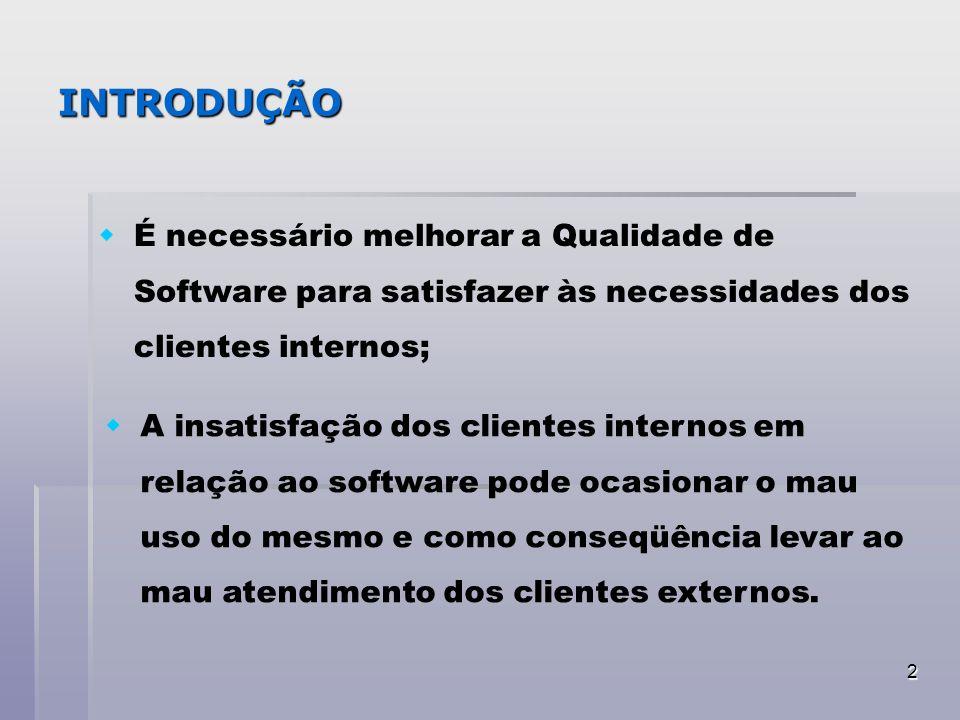 2 INTRODUÇÃO É necessário melhorar a Qualidade de Software para satisfazer às necessidades dos clientes internos; A insatisfação dos clientes internos
