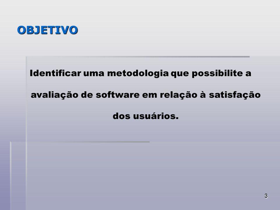 3 OBJETIVO Identificar uma metodologia que possibilite a avaliação de software em relação à satisfação dos usuários.