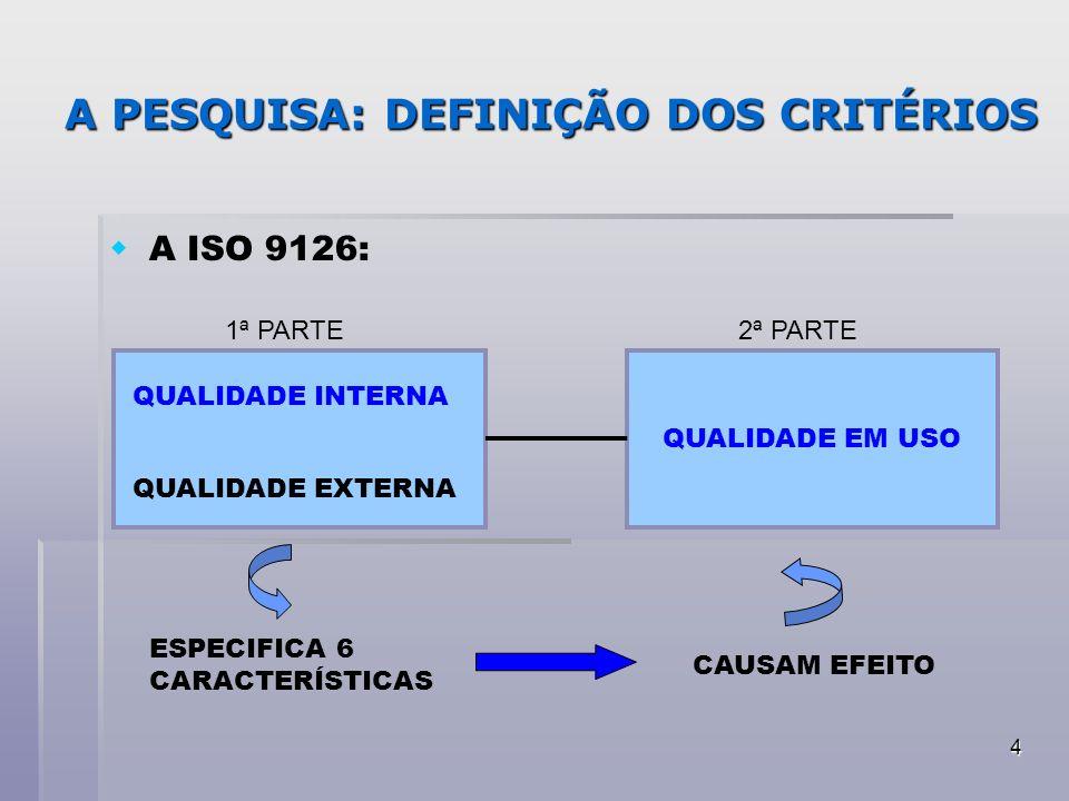 4 A PESQUISA: DEFINIÇÃO DOS CRITÉRIOS A ISO 9126: QUALIDADE INTERNA QUALIDADE EXTERNA QUALIDADE EM USO 1ª PARTE2ª PARTE ESPECIFICA 6 CARACTERÍSTICAS C