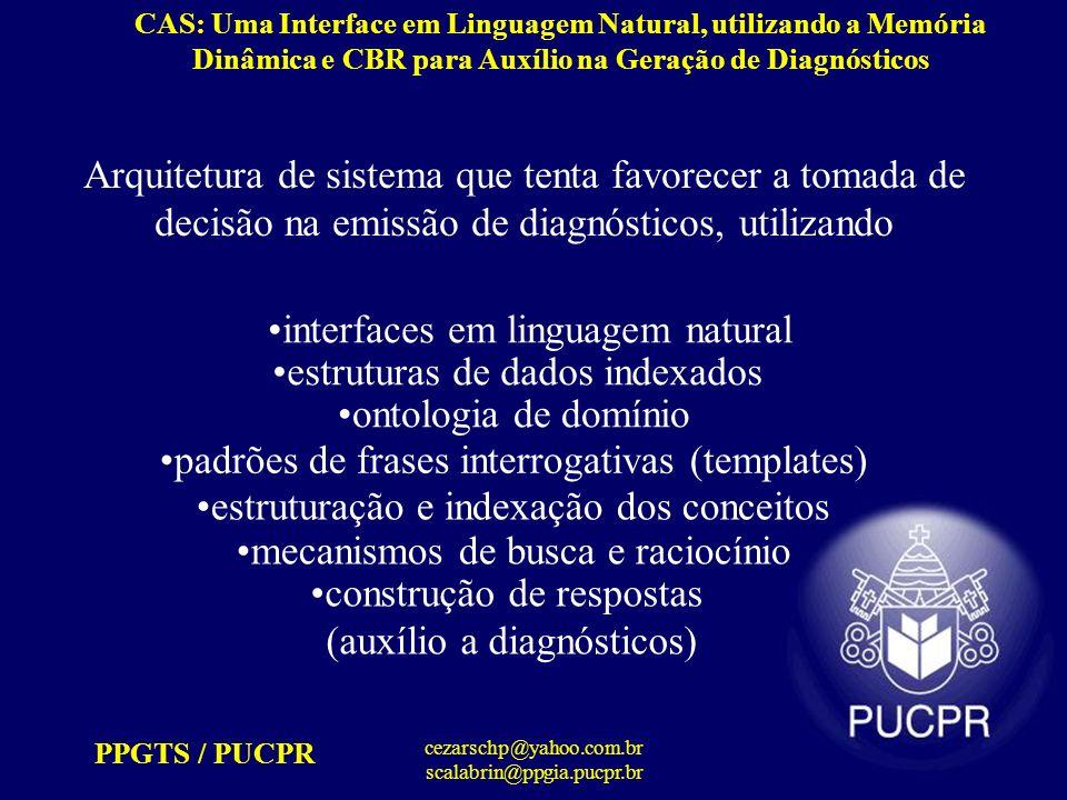 PPGTS / PUCPR cezarschp@yahoo.com.br scalabrin@ppgia.pucpr.br CAS: Uma Interface em Linguagem Natural, utilizando a Memória Dinâmica e CBR para Auxílio na Geração de Diagnósticos Metodologia (índices) [1] - Árvore de índices representa os objetos e os relacionamentos que podem possuir