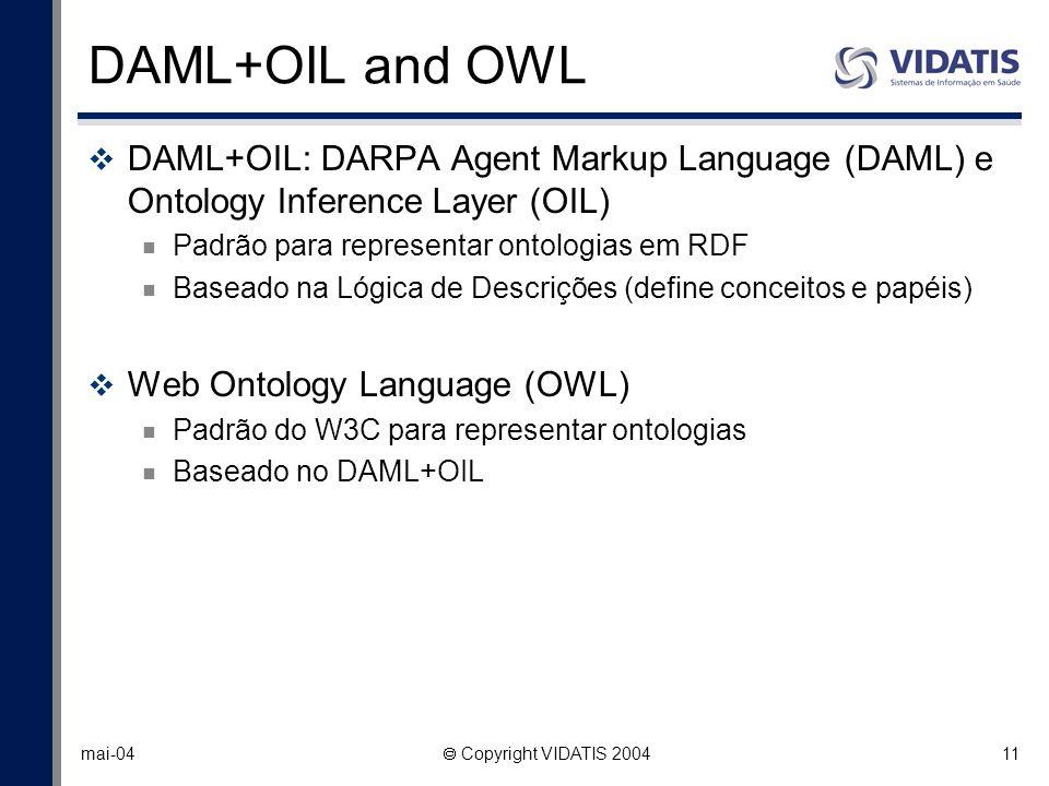 11 mai-04 Copyright VIDATIS 2004 DAML+OIL and OWL DAML+OIL: DARPA Agent Markup Language (DAML) e Ontology Inference Layer (OIL) Padrão para representa