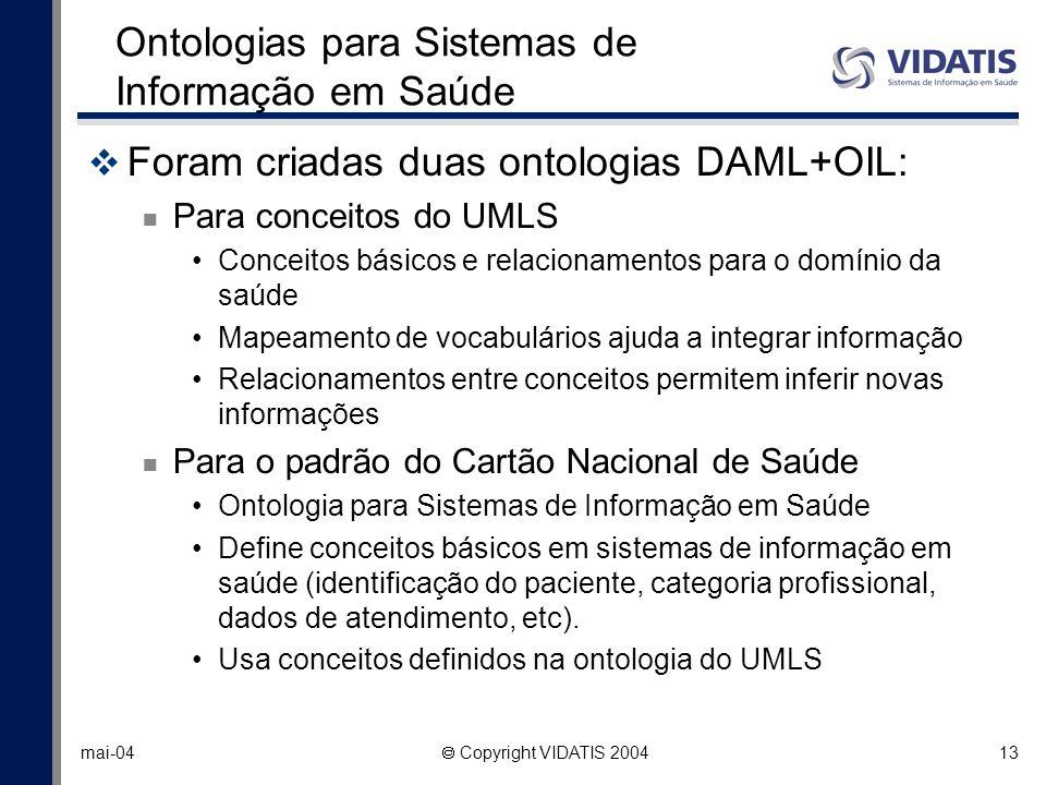 13 mai-04 Copyright VIDATIS 2004 Ontologias para Sistemas de Informação em Saúde Foram criadas duas ontologias DAML+OIL: Para conceitos do UMLS Concei