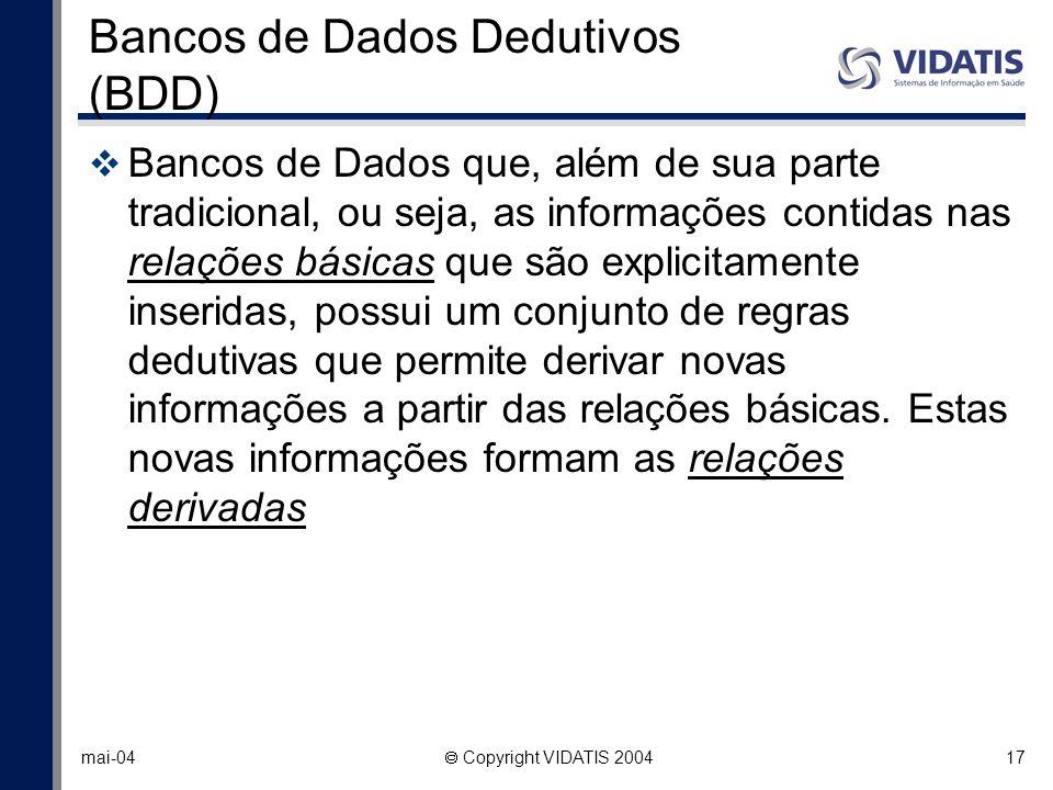 17 mai-04 Copyright VIDATIS 2004 Bancos de Dados Dedutivos (BDD) Bancos de Dados que, além de sua parte tradicional, ou seja, as informações contidas