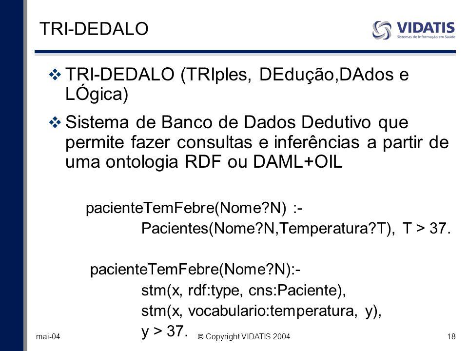 18 mai-04 Copyright VIDATIS 2004 TRI-DEDALO TRI-DEDALO (TRIples, DEdução,DAdos e LÓgica) Sistema de Banco de Dados Dedutivo que permite fazer consulta