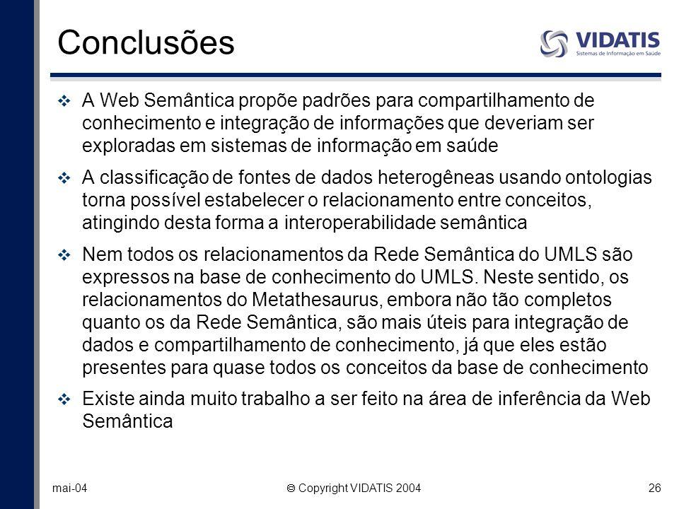 26 mai-04 Copyright VIDATIS 2004 Conclusões A Web Semântica propõe padrões para compartilhamento de conhecimento e integração de informações que dever