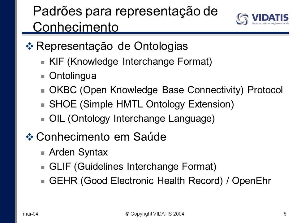6 mai-04 Copyright VIDATIS 2004 Padrões para representação de Conhecimento Representação de Ontologias KIF (Knowledge Interchange Format) Ontolingua O