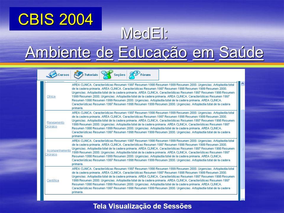 Tela Visualização de Sessões MedEl: Ambiente de Educação em Saúde CBIS 2004