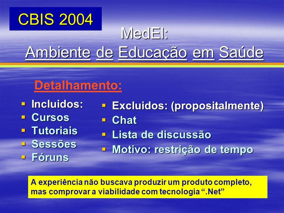 MedEl: Ambiente de Educação em Saúde CBIS 2004 Detalhamento: Incluidos: Incluidos: Cursos Cursos Tutoriais Tutoriais Sessões Sessões Fóruns Fóruns Exc