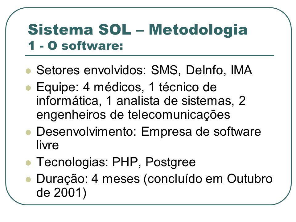 Sistema SOL – Metodologia 1 - O software: Setores envolvidos: SMS, DeInfo, IMA Equipe: 4 médicos, 1 técnico de informática, 1 analista de sistemas, 2