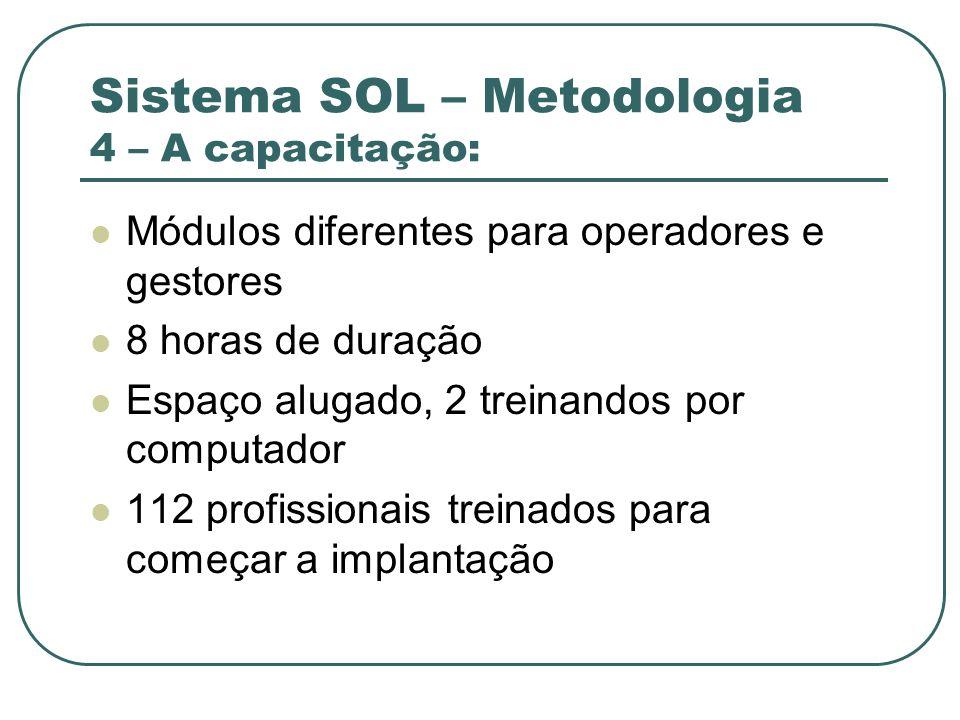 Sistema SOL – Metodologia 4 – A capacitação: Módulos diferentes para operadores e gestores 8 horas de duração Espaço alugado, 2 treinandos por computa