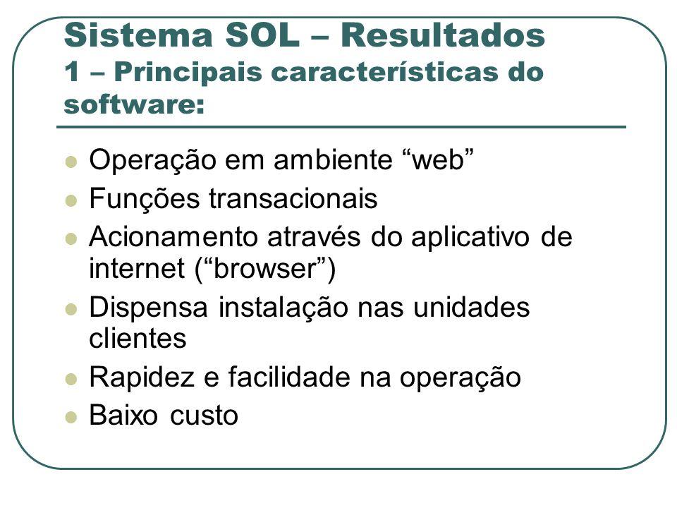 Sistema SOL – Resultados 1 – Principais características do software: Operação em ambiente web Funções transacionais Acionamento através do aplicativo