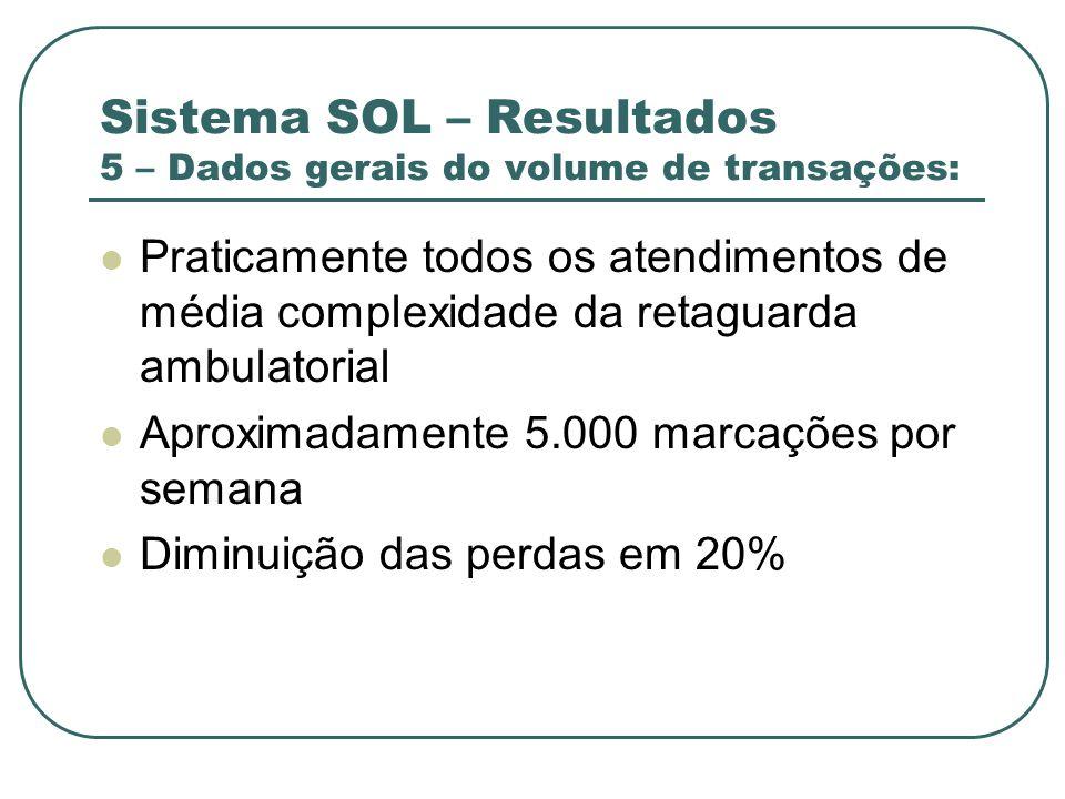 Sistema SOL – Resultados 5 – Dados gerais do volume de transações: Praticamente todos os atendimentos de média complexidade da retaguarda ambulatorial