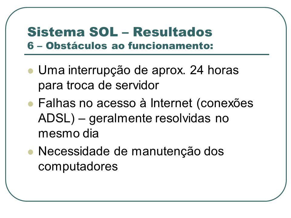 Sistema SOL – Resultados 6 – Obstáculos ao funcionamento: Uma interrupção de aprox. 24 horas para troca de servidor Falhas no acesso à Internet (conex