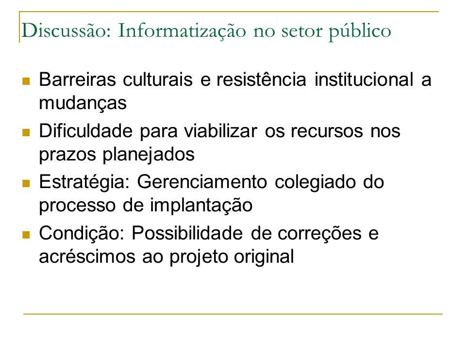 Discussão: Informatização no setor público Barreiras culturais e resistência institucional a mudanças Dificuldade para viabilizar os recursos nos praz