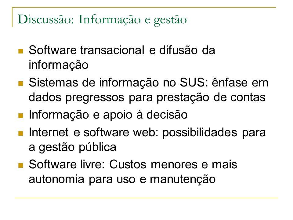 Discussão: Informação e gestão Software transacional e difusão da informação Sistemas de informação no SUS: ênfase em dados pregressos para prestação