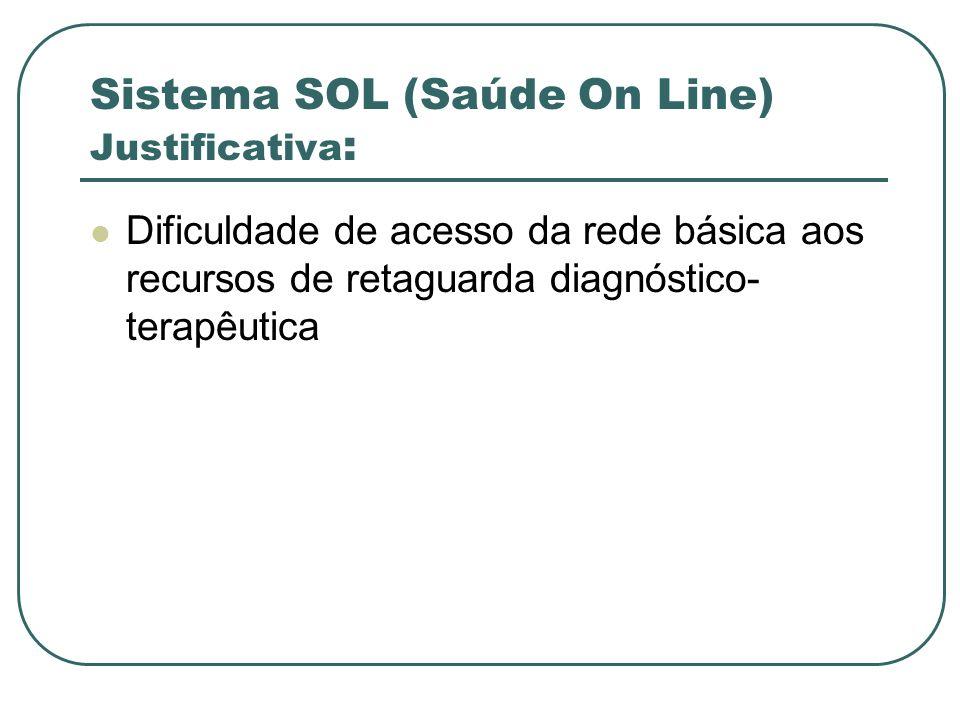 Sistema SOL (Saúde On Line) Justificativa : Dificuldade de acesso da rede básica aos recursos de retaguarda diagnóstico- terapêutica