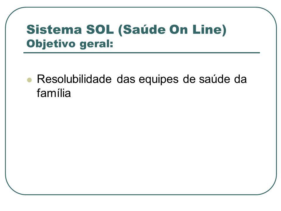 Sistema SOL (Saúde On Line) Objetivo geral: Resolubilidade das equipes de saúde da família