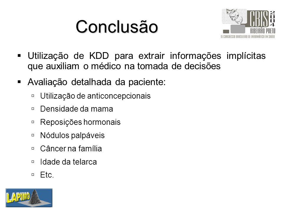 Conclusão Utilização de KDD para extrair informações implícitas que auxiliam o médico na tomada de decisões Avaliação detalhada da paciente: Utilizaçã