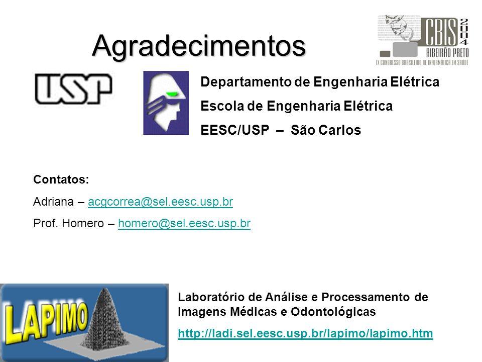 Agradecimentos Departamento de Engenharia Elétrica Escola de Engenharia Elétrica EESC/USP – São Carlos Laboratório de Análise e Processamento de Image