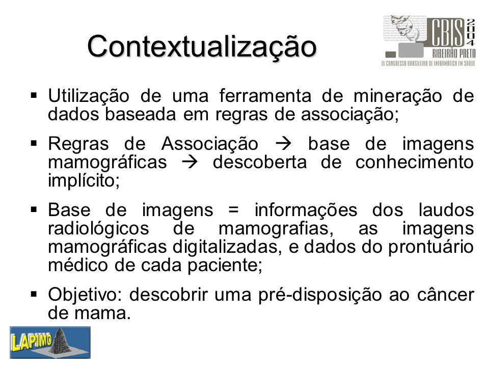 Contextualização Utilização de uma ferramenta de mineração de dados baseada em regras de associação; Regras de Associação base de imagens mamográficas