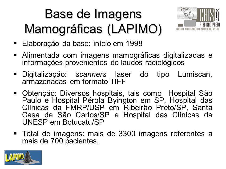 Base de Imagens Mamográficas (LAPIMO) Elaboração da base: início em 1998 Alimentada com imagens mamográficas digitalizadas e informações provenientes