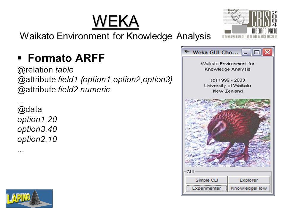 Metodologia 1.Dados: base de imagens mamográficas (LAPIMO) 2.Seleção: informações dos laudos radiológicos 3.Processamento: padronização, eliminação de dados duplicados 4.Transformação: formato ARFF 5.Mineração: WEKA (APriori) 6.Interpretação / Avaliação