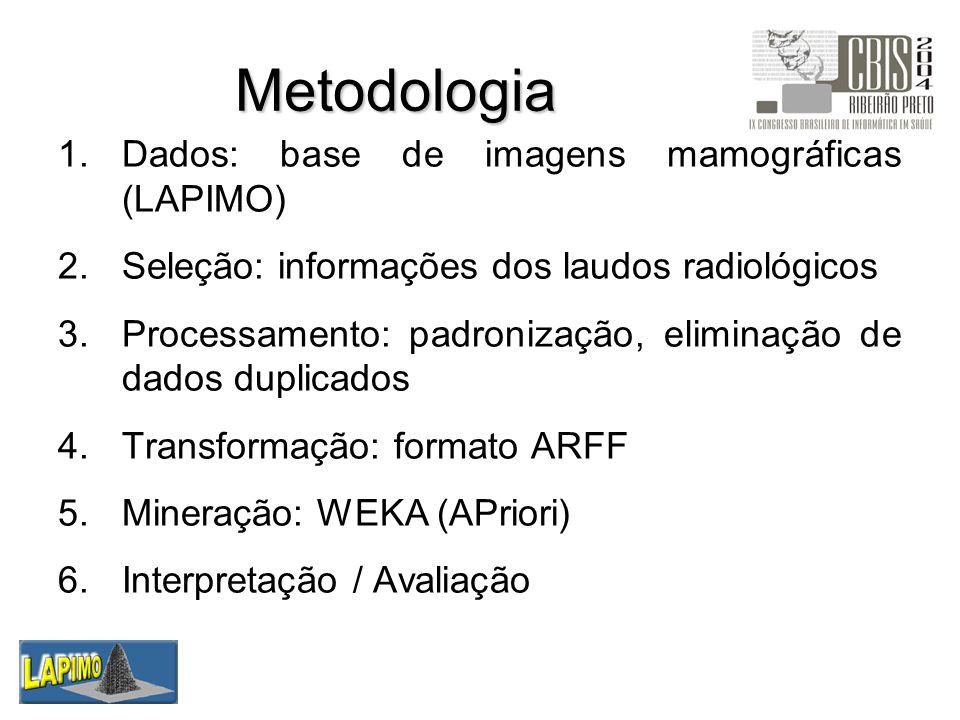 Metodologia 1.Dados: base de imagens mamográficas (LAPIMO) 2.Seleção: informações dos laudos radiológicos 3.Processamento: padronização, eliminação de