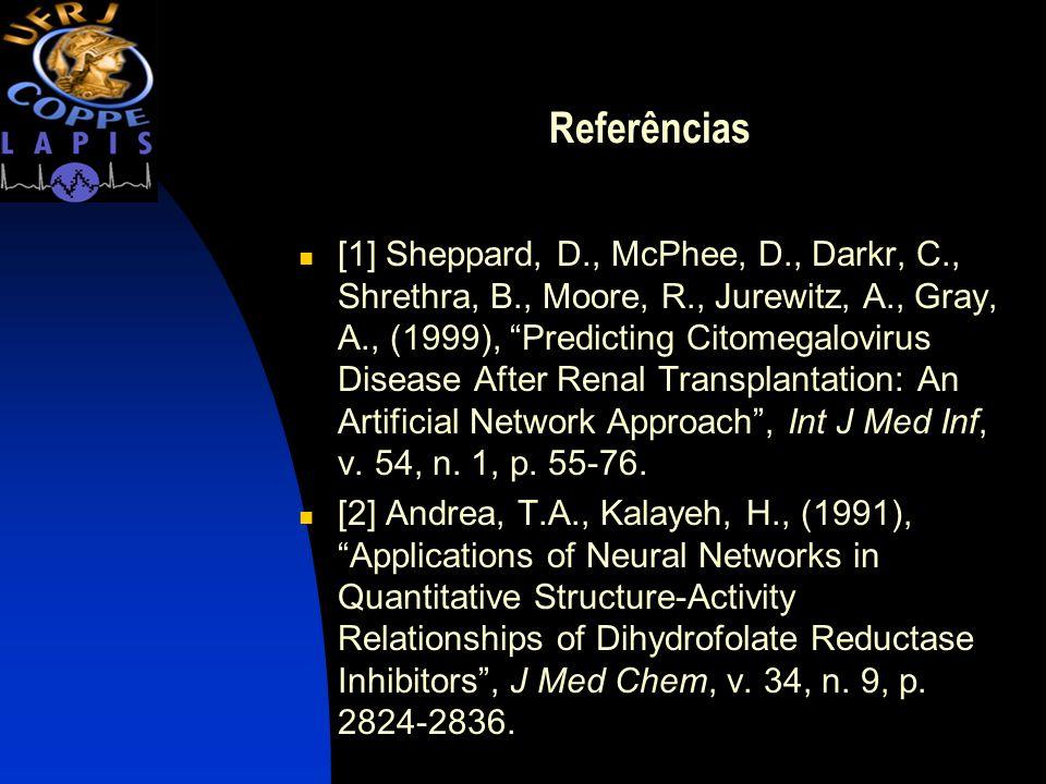 Referências [1] Sheppard, D., McPhee, D., Darkr, C., Shrethra, B., Moore, R., Jurewitz, A., Gray, A., (1999), Predicting Citomegalovirus Disease After