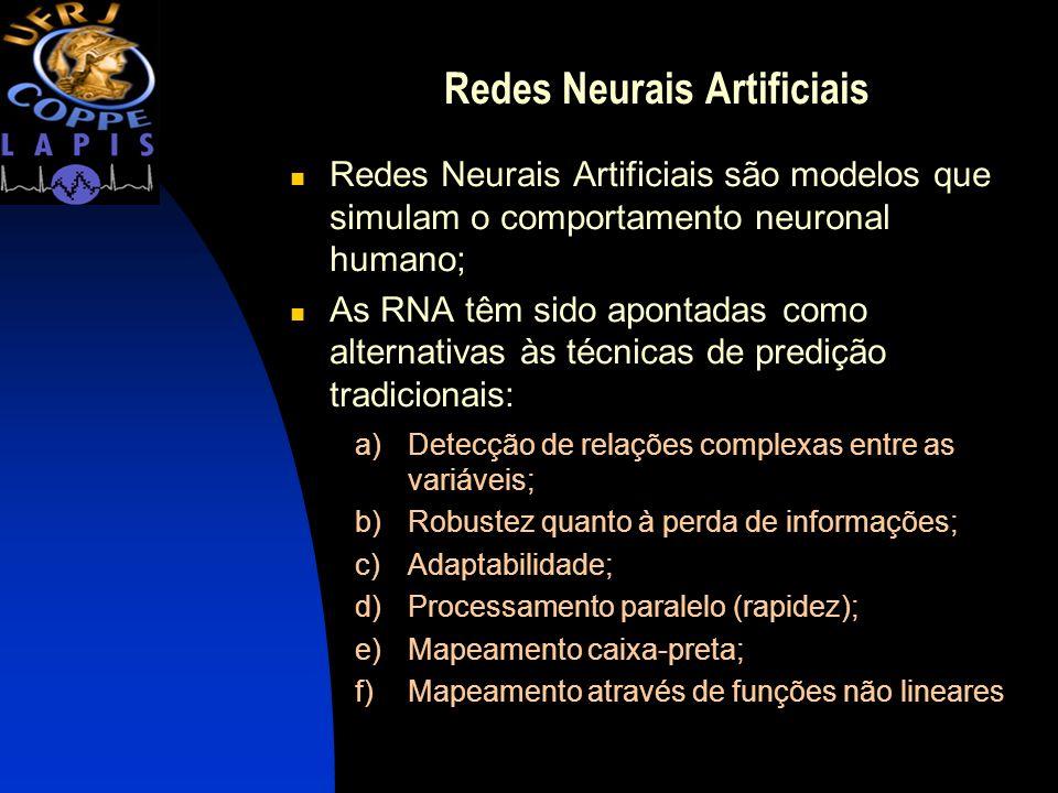 Redes Neurais Artificiais Redes Neurais Artificiais são modelos que simulam o comportamento neuronal humano; As RNA têm sido apontadas como alternativ