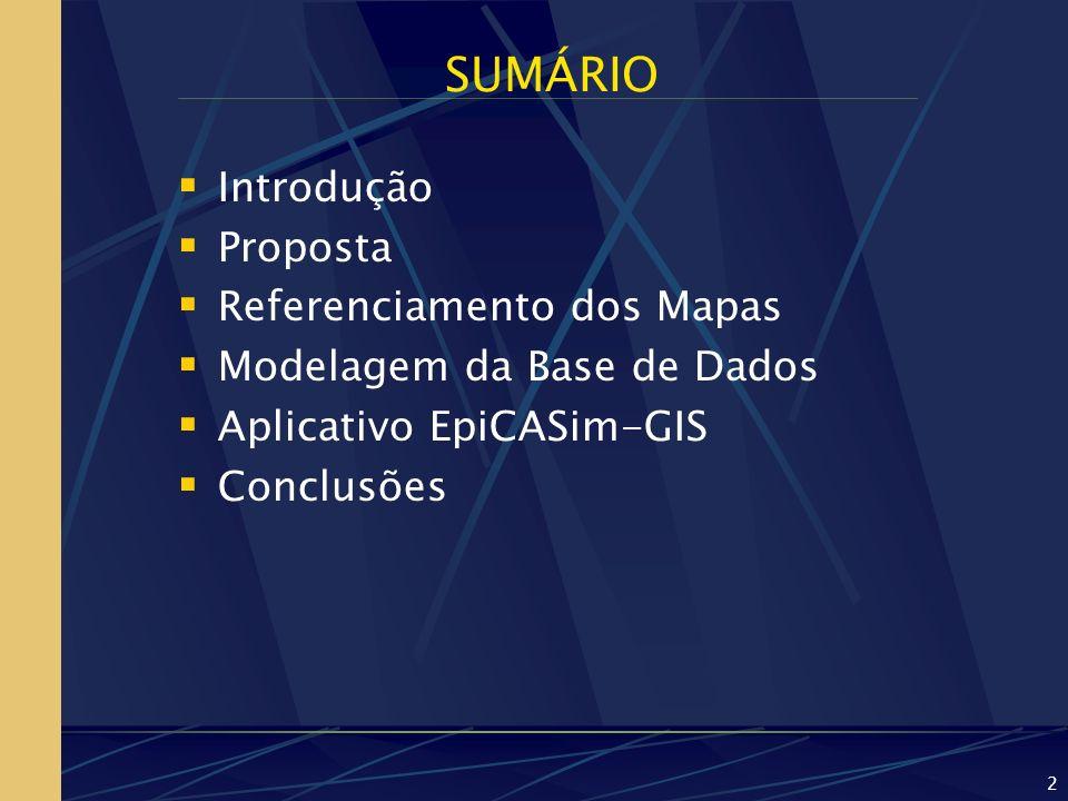 2 SUMÁRIO Introdução Proposta Referenciamento dos Mapas Modelagem da Base de Dados Aplicativo EpiCASim-GIS Conclusões