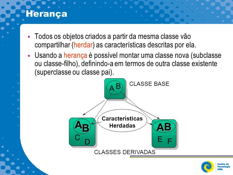 Herança Todos os objetos criados a partir da mesma classe vão compartilhar (herdar) as características descritas por ela.