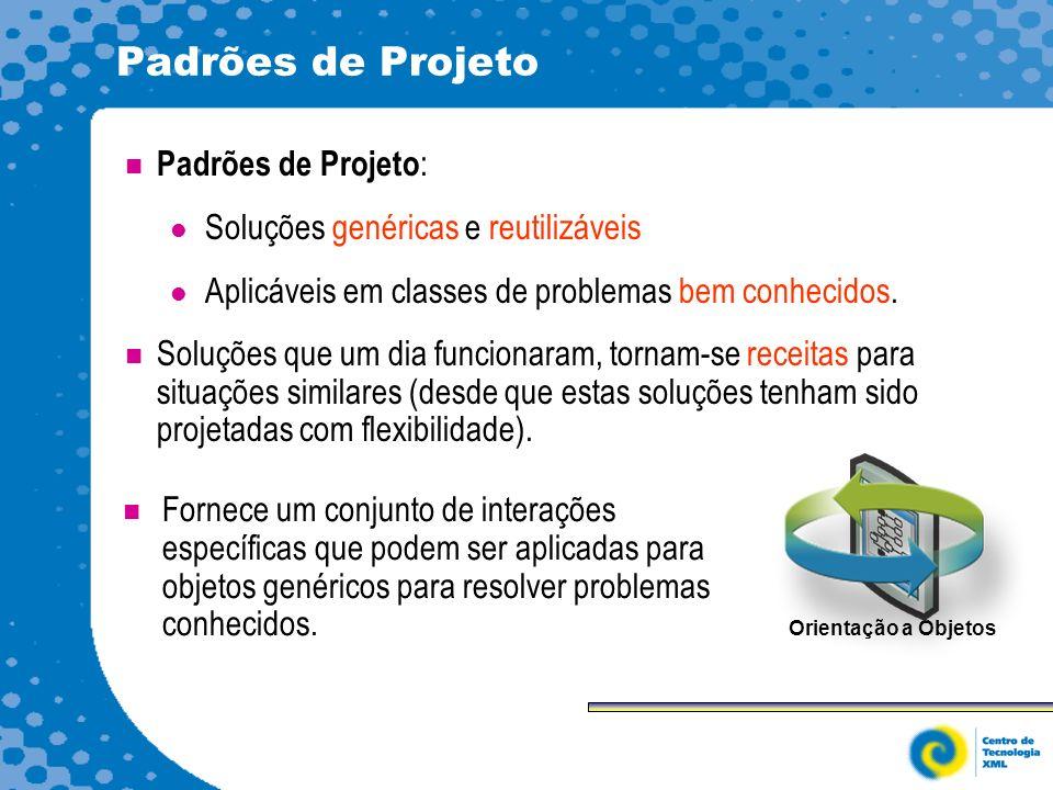 Padrões de Projeto Padrões de Projeto : Soluções genéricas e reutilizáveis Aplicáveis em classes de problemas bem conhecidos.