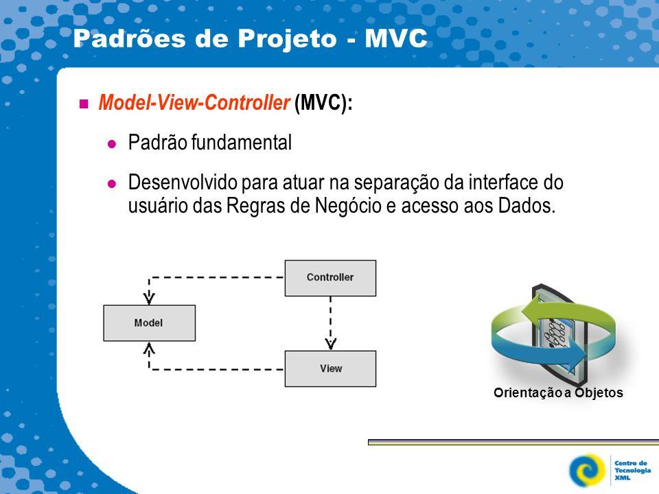 Padrões de Projeto - MVC Model-View-Controller (MVC): Padrão fundamental Desenvolvido para atuar na separação da interface do usuário das Regras de Negócio e acesso aos Dados.