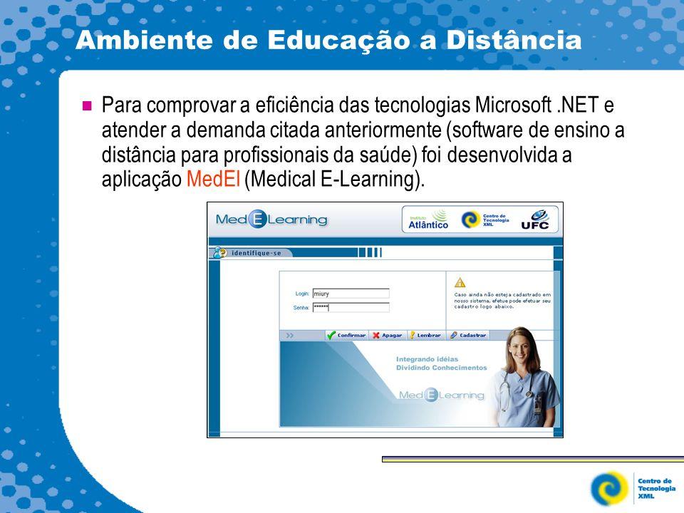 Ambiente de Educação a Distância Para comprovar a eficiência das tecnologias Microsoft.NET e atender a demanda citada anteriormente (software de ensino a distância para profissionais da saúde) foi desenvolvida a aplicação MedEl (Medical E-Learning).