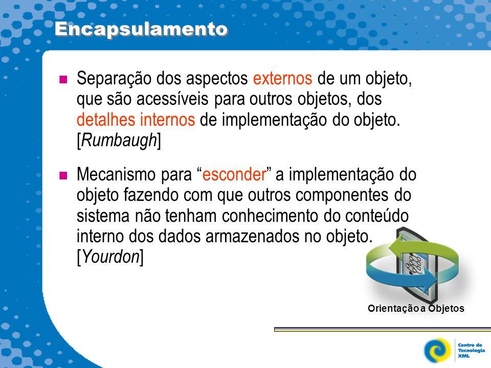 Encapsulamento Separação dos aspectos externos de um objeto, que são acessíveis para outros objetos, dos detalhes internos de implementação do objeto.