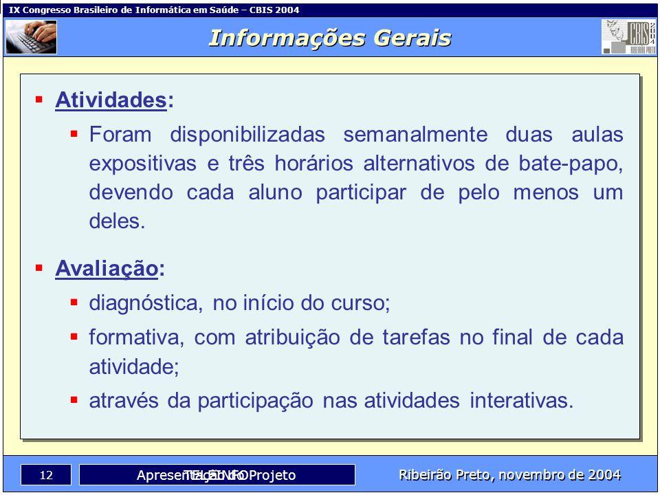 IX Congresso Brasileiro de Informática em Saúde – CBIS 2004 11 Ribeirão Preto, novembro de 2004 TELEINFO Título: TELEINFO – Um Curso à Distância Utili