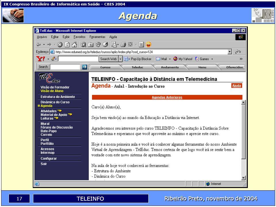 Ribeirão Preto, novembro de 2004 16 TELEINFO IX Congresso Brasileiro de Informática em Saúde – CBIS 2004