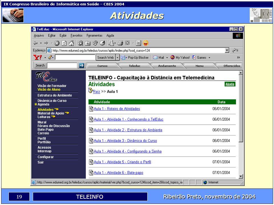 Ribeirão Preto, novembro de 2004 18 TELEINFO IX Congresso Brasileiro de Informática em Saúde – CBIS 2004 Atividades