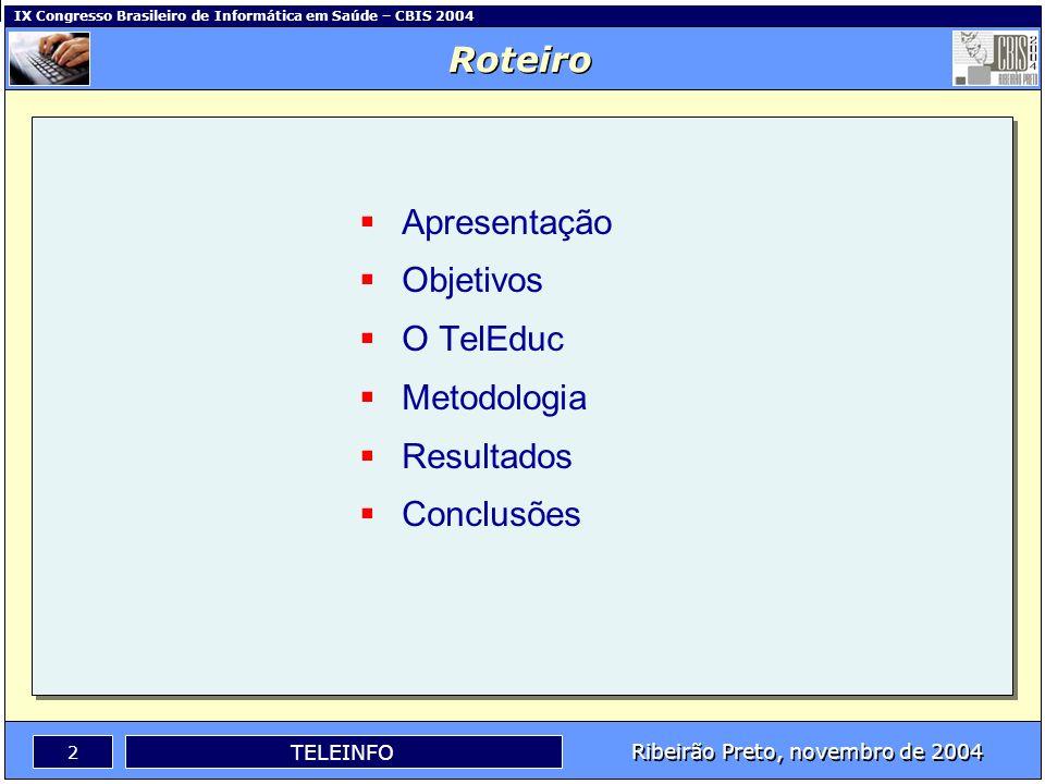 Ribeirão Preto, novembro de 2004 1 TELEINFO IX Congresso Brasileiro de Informática em Saúde – CBIS 2004 Karoline Lira Dantas da Costa, MsC - UFPB Lour