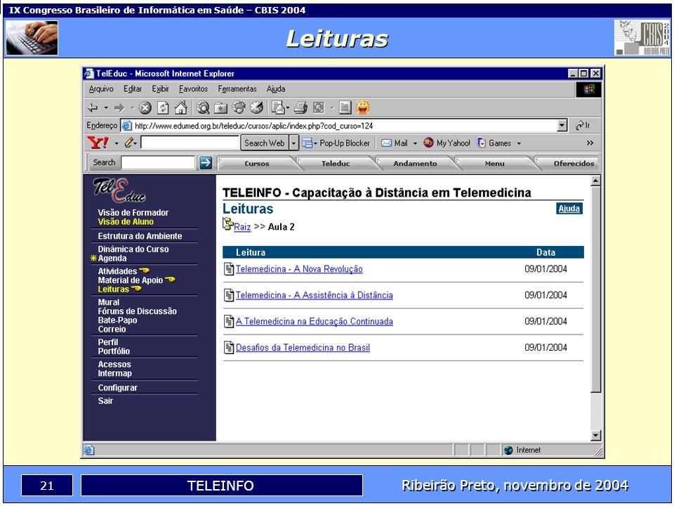 Ribeirão Preto, novembro de 2004 20 TELEINFO IX Congresso Brasileiro de Informática em Saúde – CBIS 2004 Material de Apoio