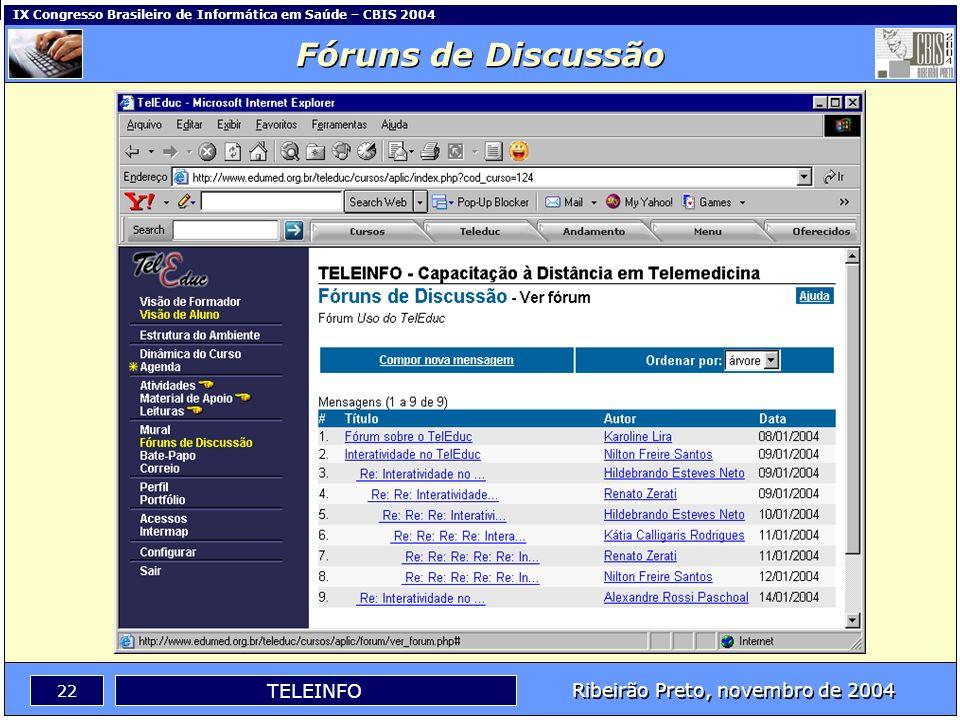 Ribeirão Preto, novembro de 2004 21 TELEINFO IX Congresso Brasileiro de Informática em Saúde – CBIS 2004 Leituras