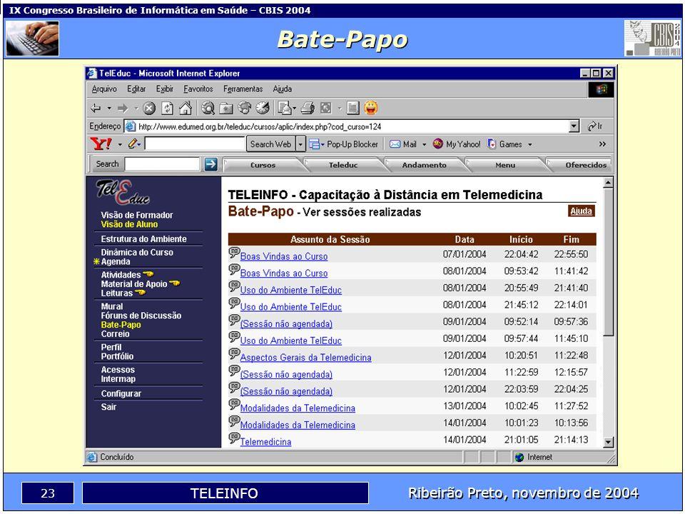Ribeirão Preto, novembro de 2004 22 TELEINFO IX Congresso Brasileiro de Informática em Saúde – CBIS 2004 Fóruns de Discussão