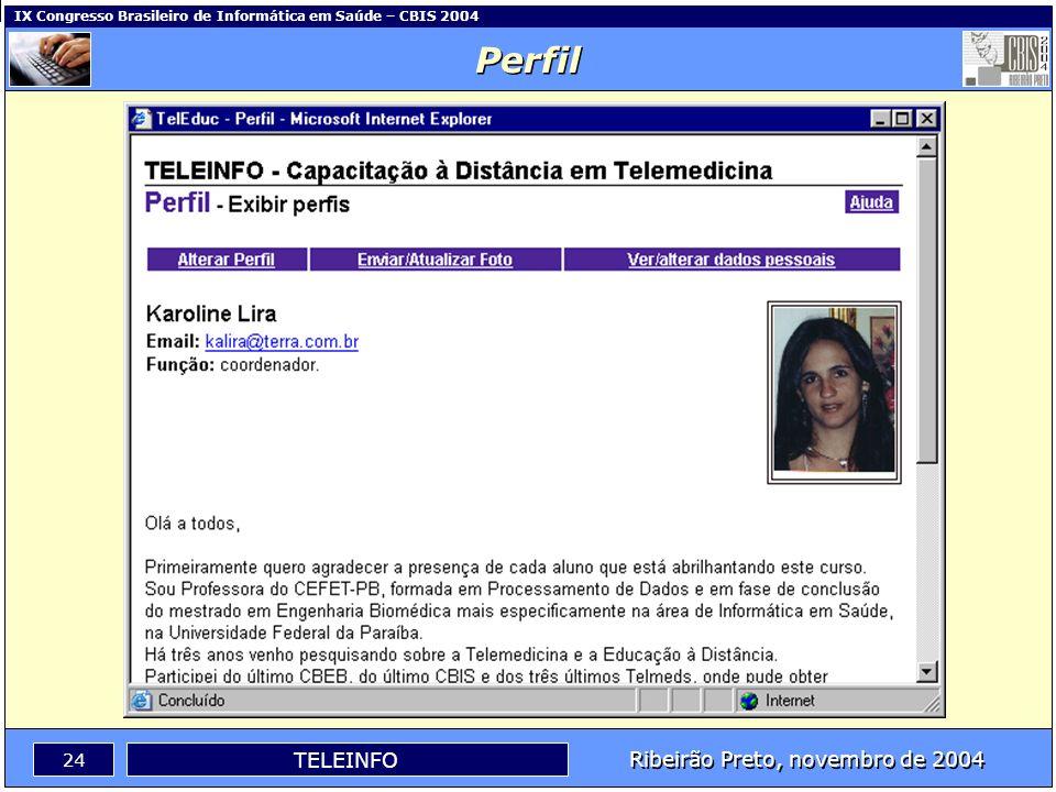 Ribeirão Preto, novembro de 2004 23 TELEINFO IX Congresso Brasileiro de Informática em Saúde – CBIS 2004 Bate-Papo