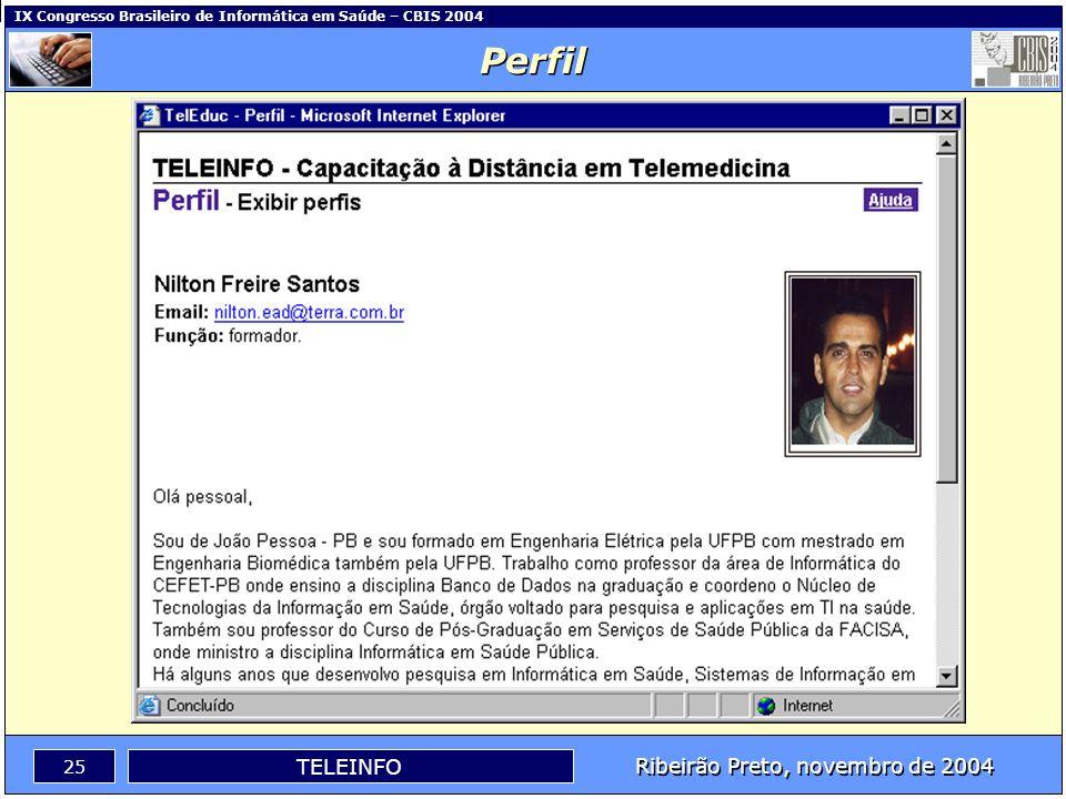 Ribeirão Preto, novembro de 2004 24 TELEINFO IX Congresso Brasileiro de Informática em Saúde – CBIS 2004 Perfil