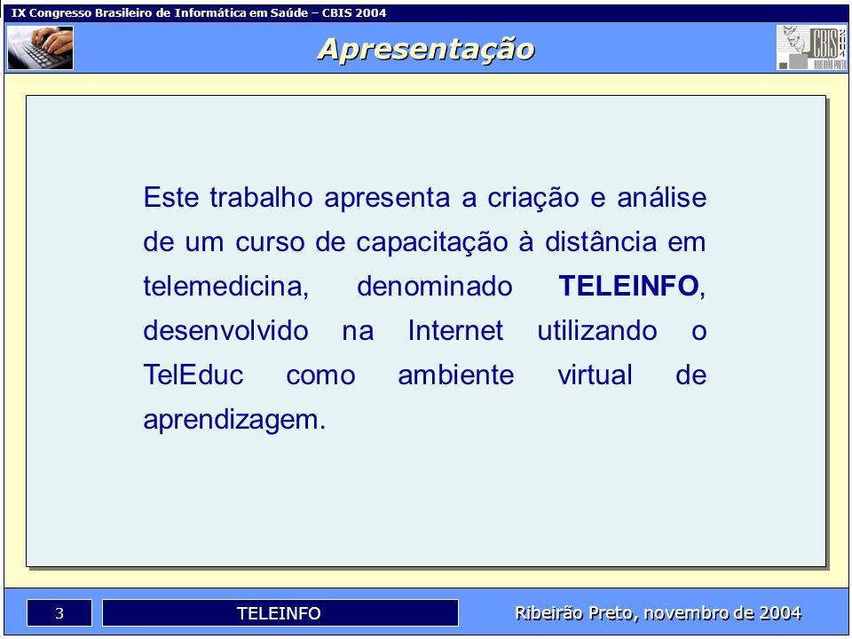 IX Congresso Brasileiro de Informática em Saúde – CBIS 2004 2 Ribeirão Preto, novembro de 2004 TELEINFO Apresentação Objetivos O TelEduc Metodologia R