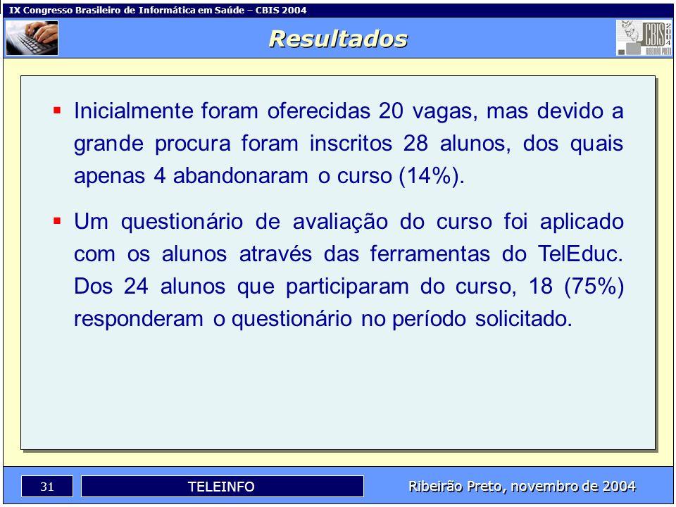IX Congresso Brasileiro de Informática em Saúde – CBIS 2004 30 Ribeirão Preto, novembro de 2004 TELEINFO Instituições participantes: IMIP-PE CEFET-MT