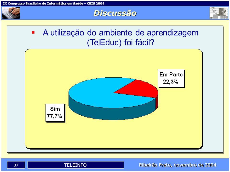 IX Congresso Brasileiro de Informática em Saúde – CBIS 2004 36 Ribeirão Preto, novembro de 2004 TELEINFO O material didático estava adequado ao tema e