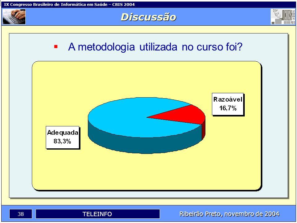 IX Congresso Brasileiro de Informática em Saúde – CBIS 2004 37 Ribeirão Preto, novembro de 2004 TELEINFO A utilização do ambiente de aprendizagem (Tel