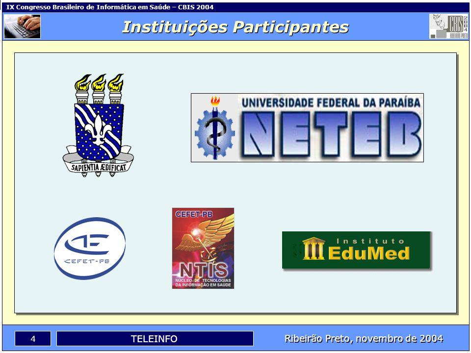 IX Congresso Brasileiro de Informática em Saúde – CBIS 2004 3 Ribeirão Preto, novembro de 2004 TELEINFO Apresentação Este trabalho apresenta a criação