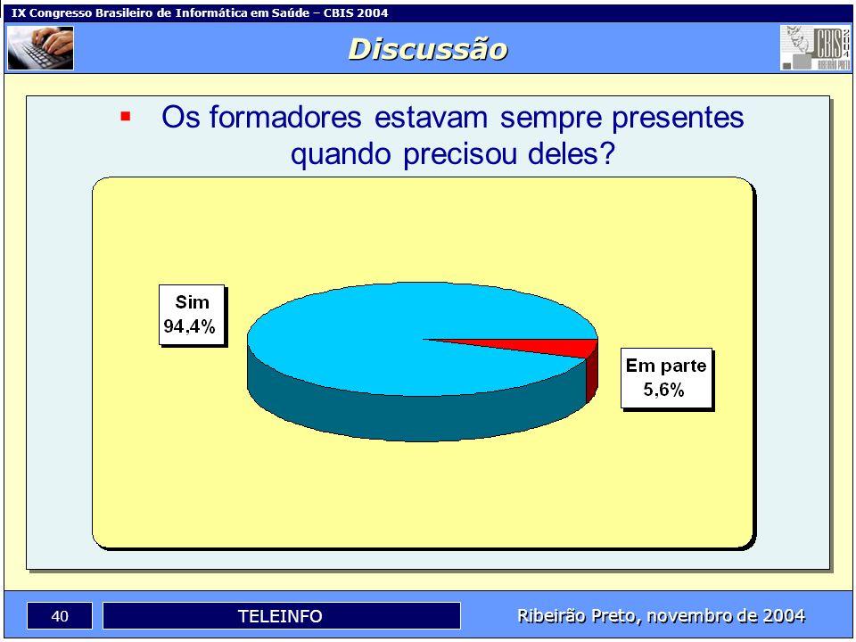 IX Congresso Brasileiro de Informática em Saúde – CBIS 2004 39 Ribeirão Preto, novembro de 2004 TELEINFO A interatividade entre os participantes atrav
